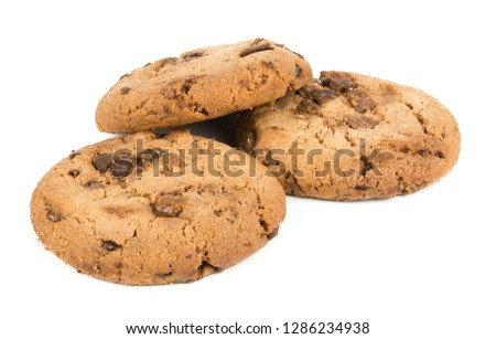Chocolate chip cookie isolated on white background #1286234938