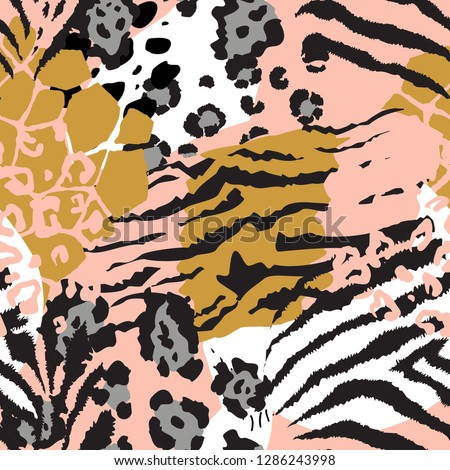 Vector abstract seamless pattern with animal skin motifs. Endless modern background. Royalty-Free Stock Photo #1286243998