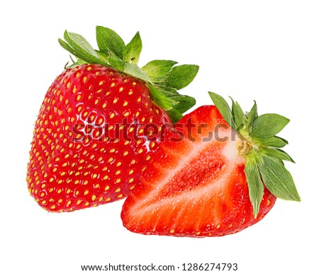 Fresh strawberry isolated on white background with clipping path #1286274793