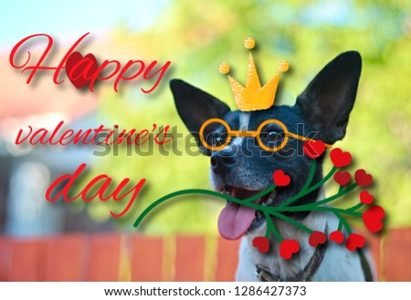 """Greeting card for Valentine's day, with a cute pug. Cartoon dog with crown and glasses and heart. illustration for a postcard or a poster. Text """"Happy Valentine's Day."""