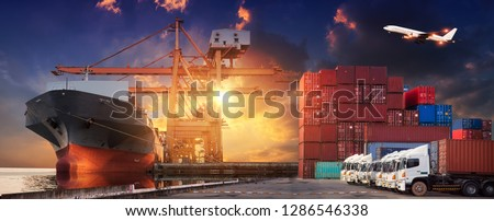 Logistics and transportation of Container Cargo ship and Cargo plane with working crane bridge in shipyard at sunrise, logistic import export and transport industry background #1286546338
