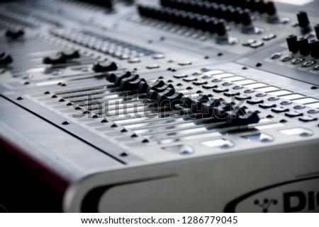 Kebumen, Indonesia - 01st 11 2014: Sound Mixer Equalizer Panel for Music Concert #1286779045