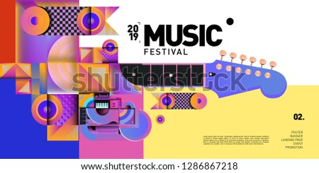 Vector Colorful Music Festival for Event Banner and Poster. Colorful Geometric Abstract Background Template in Eps10. #1286867218