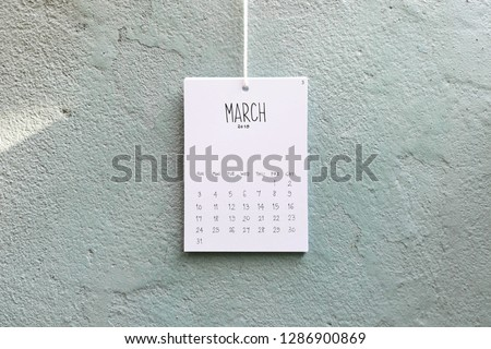 Vintage calendar 2019 handmade hang on the wall, March 2019 #1286900869
