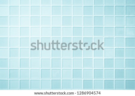 White or Blue ceramic wall and floor tiles abstract background. Design geometric mosaic texture for the decoration of the bedroom. Simple seamless pattern for backdrop advertising banner poster or web #1286904574