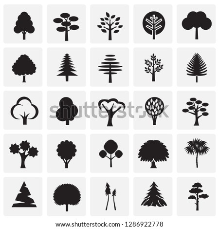Trees icon set on squares background for graphic and web design, Modern simple vector sign. Internet concept. Trendy symbol for website design web button or mobile app #1286922778