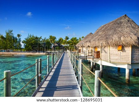 seacoast with palm trees and small houses on water. #128695031