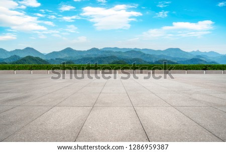 Empty Plaza Floor Bricks and Beautiful Natural Landscape #1286959387