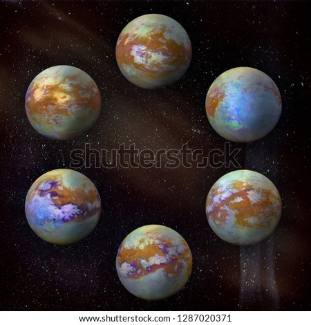 Saturn's moon Titan, set of six different angles in the circle at the galaxy stars background.  Royalty-Free Stock Photo #1287020371