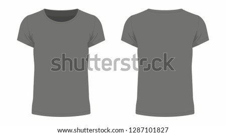 Front and back views of men's black t-shirt on white background #1287101827