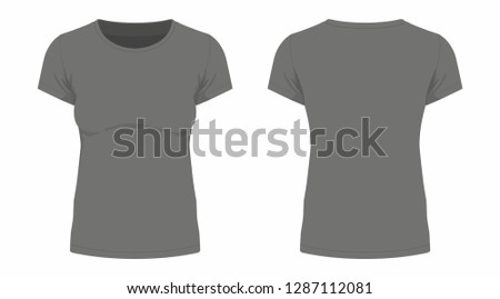 Front and back views of women's t-shirt on white background #1287112081