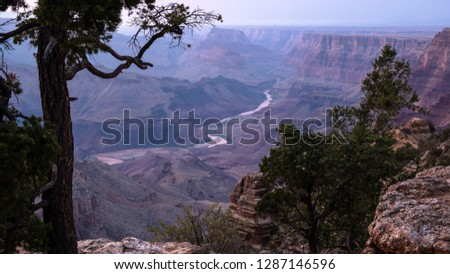 Blue hour in Grand Canyon, with Colorado river