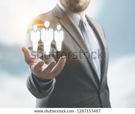 Business man holding opinion leader, team leader, market leader, Leading concepts. #1287153487