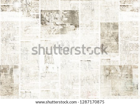 Newspaper with old unreadable text. Vintage grunge blurred paper news texture horizontal background. Textured page. Gray collage. Space for text. #1287170875