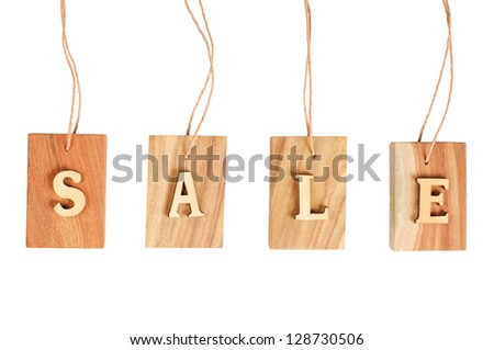 Sales wood sign isolated on white background #128730506