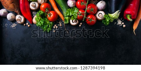 Tasty food background, food frame of vegetables, healthy or vegetarian concept, top view, copy space. Horizontal.  #1287394198