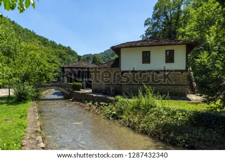 ETAR, GABROVO, BULGARIA- JULY 6, 2018: Old house in Ethno village Etar (Etara) near town of Gabrovo, Bulgaria #1287432340