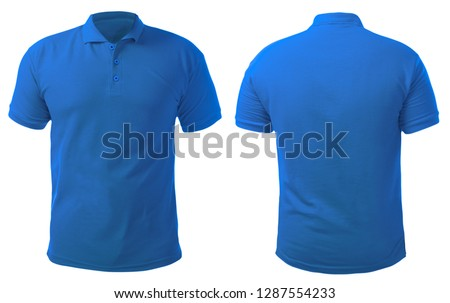 Blank collared shirt mock up template, front and back view, isolated on white, plain blue t-shirt mockup. Polo tee design presentation for print. #1287554233