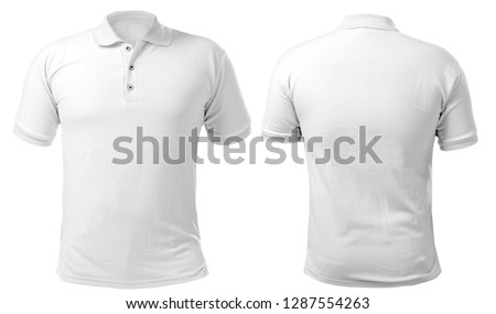 Blank collared shirt mock up template, front and back view, isolated on white, plain t-shirt mockup. Polo tee design presentation for print. #1287554263