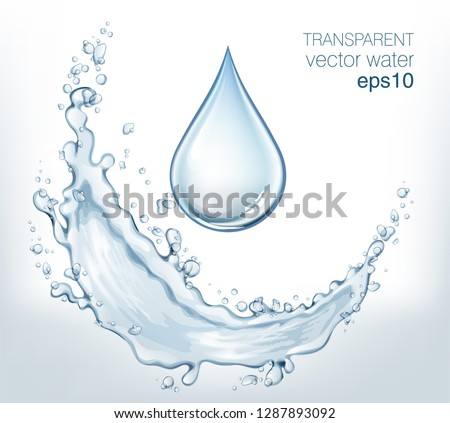 Transparent vector water splash and wave on light background #1287893092
