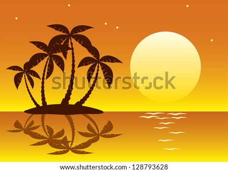 tropical palm island in moon or sun light