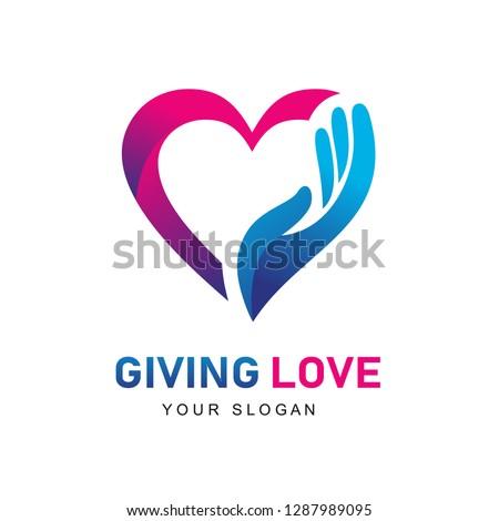 Giving Love Logo, Giving Heart, Heart and Hand logo, Health Care logo, People Care Logo Design #1287989095