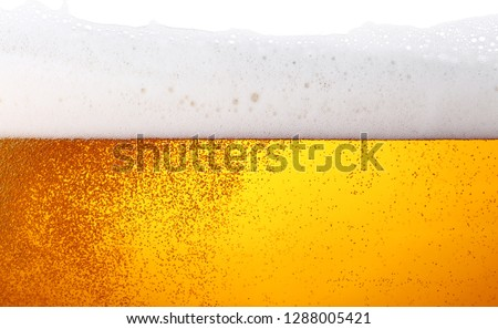 Close up background texture of lager beer with bubbles and froth in glass, low angle side view #1288005421