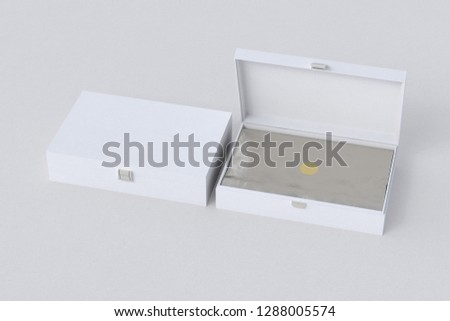 Open and closed white long boxes or caskets with wrapping foil on white background. 3d illustration #1288005574
