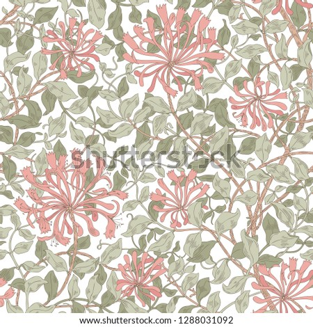 Design of modern fabric pattern. Floral pattern for your design. Illustration. Modern seamless pattern for interior decoration, wrapping paper, graphic design, clothes and textile. Vector. Background #1288031092