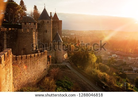 Carcassonne. France . Beautiful sunset landscape in the famous city in France.  #1288046818