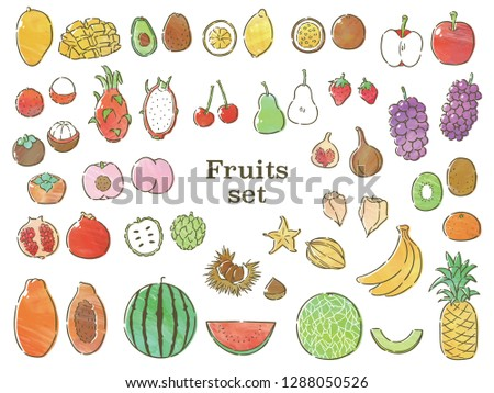 fruits set with watercolor texture #1288050526