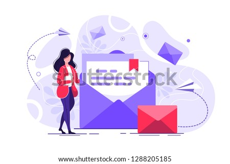 Woman hold mail. chatting, Business woman vector illustration. Working process, New email message, mail notification. Social network, chat, Girl reading letter, New incoming message, sms, spam. #1288205185