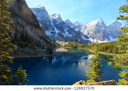 moraine lake and the valley of the ten peaks banff alberta canada #128827570