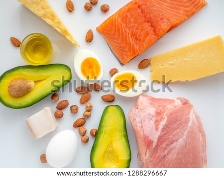 Top view of Selection of Ketogenic diet products on white background #1288296667