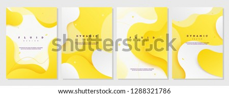 Creative fluid style poster set. dynamic 3D shapes on light yellow background. ideal for party, banner, cover, print, promotion, sale, greeting, ad, web, page, header, landing, social media. #1288321786