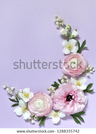 floral background gentle lilac, wreath of pink pink, lily of the valley and jasmine. Romantic background for wedding invitations and greeting cards. place for text. copy space. Flatlay #1288335742