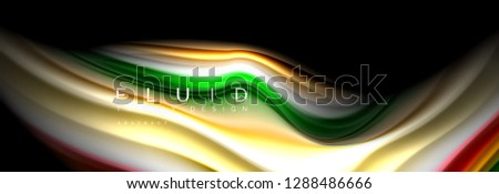 Abstract liquid colorful banner. Trendy vector wavy dynamic design. Fluid color shapes. #1288486666