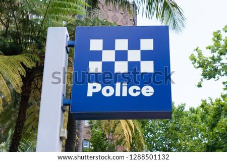 Australian police station sign in Sydney NSW Australia Royalty-Free Stock Photo #1288501132