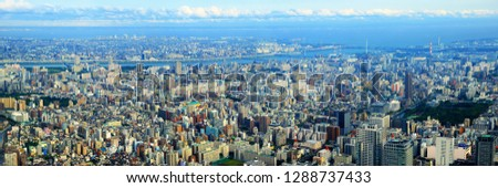 TOKYO, JAPAN - MAY, 2016 : Aerial view of Tokyo cityscape from Tokyo Skytree Tower #1288737433