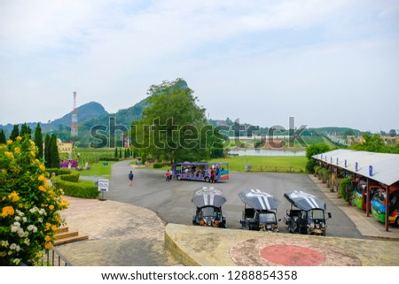 Pattaya, Thailand - January 2019 : Scenery of Silverlake Grape Farm with mountain and beautifui building at Pattaya,Thailand. #1288854358
