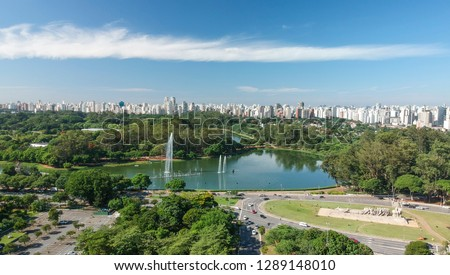Aerial view of Ibirapuera park and Sao Paulo Skyline, sunny day, Brazil #1289148010