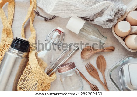 Reusable bottle and products, plastic free,  eco sustainable living and Zero waste concept, new year go green resolution Royalty-Free Stock Photo #1289209159