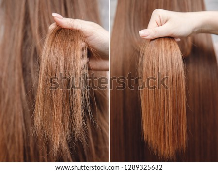 Sick, cut and healthy hair care keratin. Before and after treatment. #1289325682