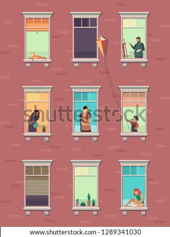 Windows with people. Opened window neighbors people communicate apartment building exterior exercising at home morning. Cartoon illustration #1289341030