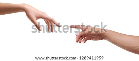 famale and male hand isolated creation of adam Royalty-Free Stock Photo #1289411959