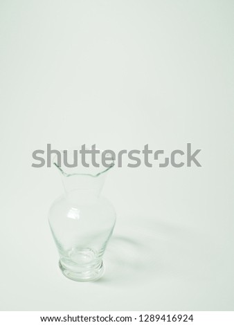 Empty glass flower vase with no flowers #1289416924