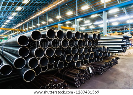 high quality Galvanized steel pipe or Aluminum and chrome stainless pipes in stack waiting for shipment  in warehouse #1289431369