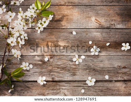 flowers on wooden background Royalty-Free Stock Photo #128947691