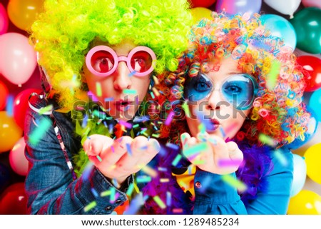 Portrait of party Men and woman in wig and glasses Carneval #1289485234