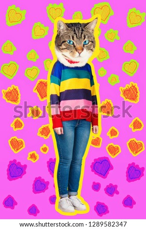 Confidence and charisma contemporary art collage full length portrait of happy kitten headed woman wearing colorful sweater. Modern style zine culture concept. Funny cat blue eyes and hearts sketch. #1289582347